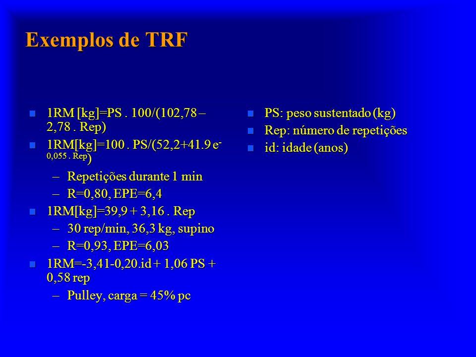 Exemplos de TRF 1RM [kg]=PS . 100/(102,78 – 2,78 . Rep)